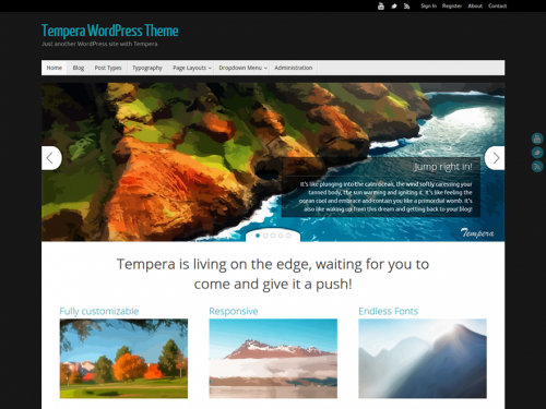 WordPress Theme Review of Tempera a 4 Star Theme