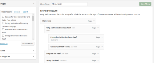 How to Setup the Main Navigation and Menu Structure